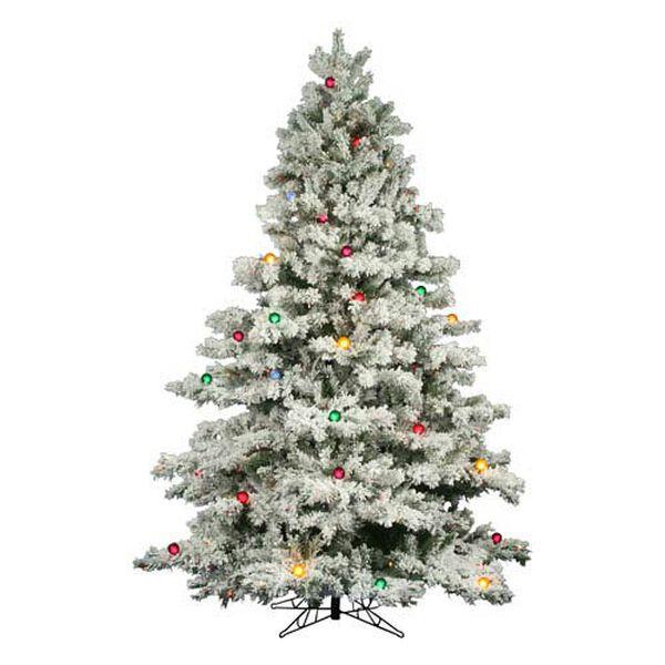Flocked Alaskan 7.5-Foot Christmas Tree w/800 Multi-color Mini Lights and G50 Lights and 1495 Tips, image 1