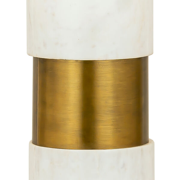 Jansen White Marble and Aged Brass One-Light Table Lamp, image 2