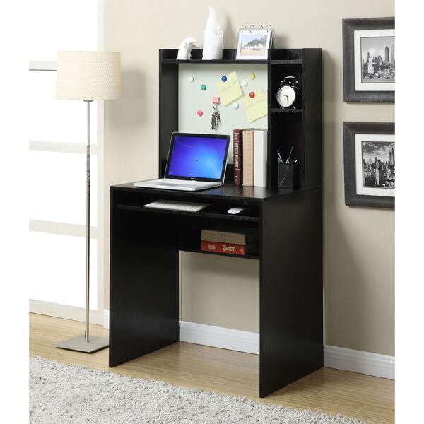 Designs2Go Black Computer Desk with Hutch, image 1
