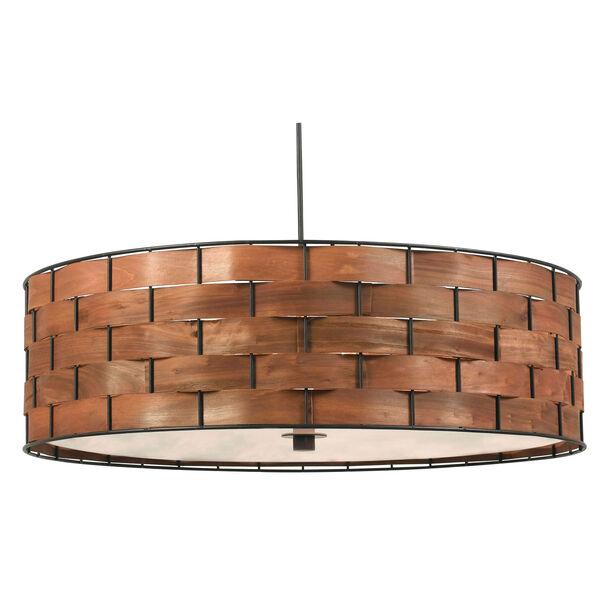 Shaker Dark Woven Wood Three Light Pendant, image 1