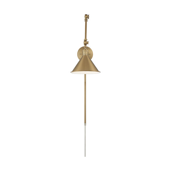 Delancey Brass Polished One-Light Adjustable Swing Arm Wall Sconce, image 2