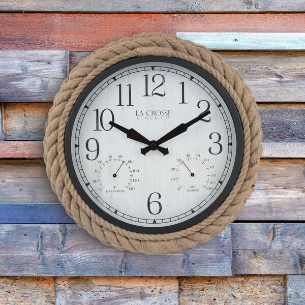 Brown Rope Case Outdoor Wall Clock, image 4