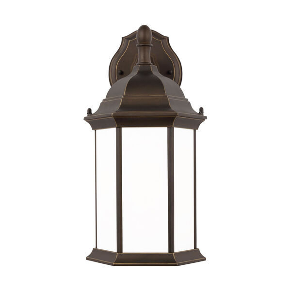 Sevier Antique Bronze Eight-Inch One-Light Outdoor Downlight Wall Sconce with Satin Etched Shade, image 1