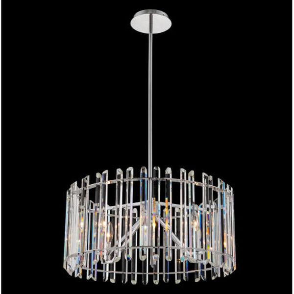 Viano Polished Chrome Six-Light Pendant with Firenze Crystal, image 2