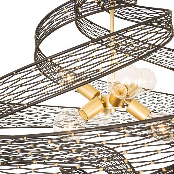 Flow Matte Black French Gold 30-Inch Six-Light Chandelier, image 2