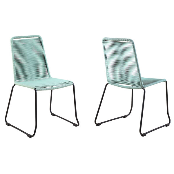 Shasta Black Wasabi Outdoor Dining Chair, Set of Two, image 1