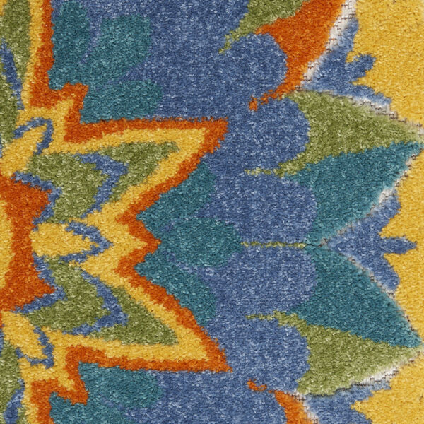 Aloha Blue and Yellow 4 Ft. x 4 Ft. Round Indoor/Outdoor Area Rug, image 6