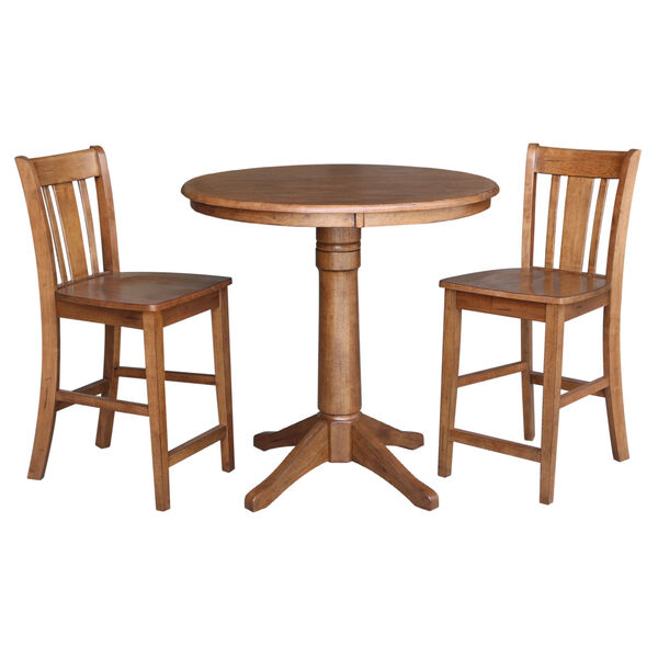 San Remo Distressed Oak 36-Inch Round Pedestal Gathering Table with Two Counter Height Stool, Set of Three, image 2