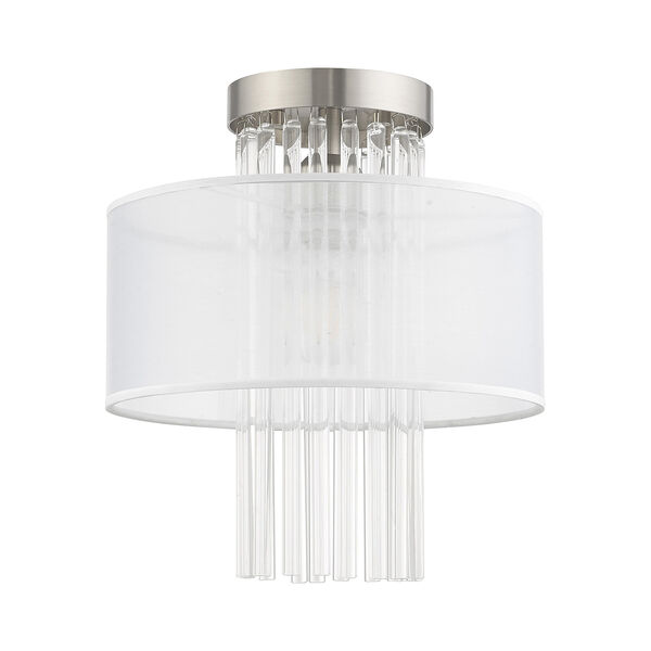 Alexis Brushed Nickel 11-Inch Ceiling Mount Transparent Crystal Rods Hand Crafted Translucent Fabric Shade, image 2