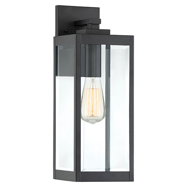 Pax Black 17-Inch One-Light Outdoor Wall Lantern with Beveled Glass, image 1