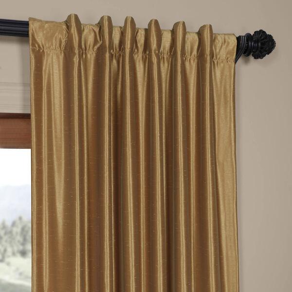 Flax Gold Vintage Textured Faux Dupioni Silk Single Panel Curtain, 50 X 96, image 2