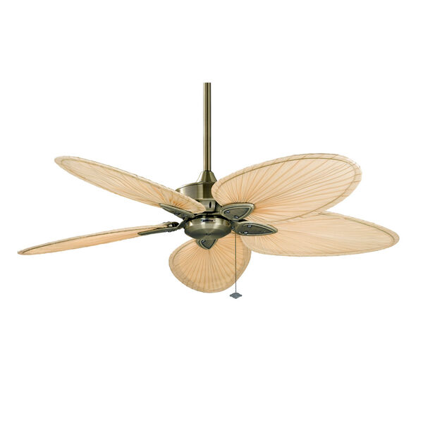 Windpointe Antique Brass Ceiling Fan with Narrow Oval Natural Palm Blades, image 1