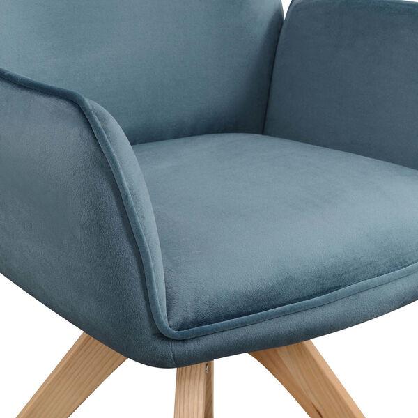 Miranda Velvet Blue Natural Wood Accent Chair, image 6