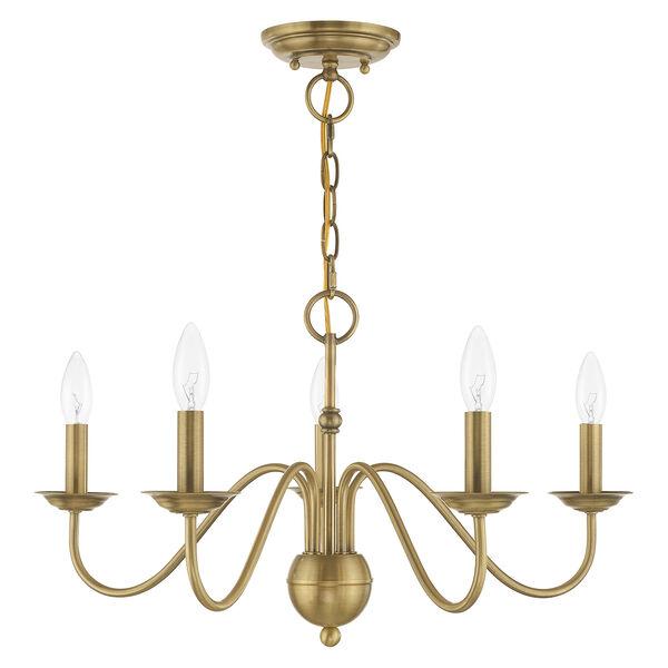 Windsor Antique Brass Five-Light Chandelier, image 2