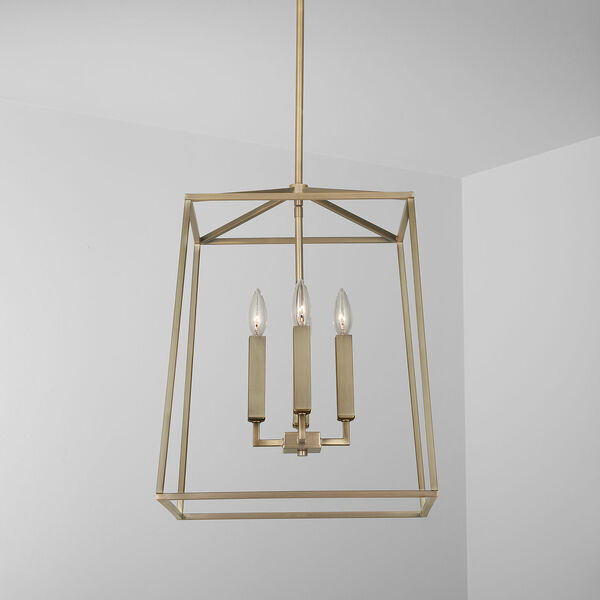 Thea Aged Brass 71-Inch Four-Light Foyer Pendant, image 3