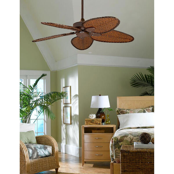 Windepointe Rust Ceiling Fan with Narrow Oval Antique Bamboo Blades, image 6