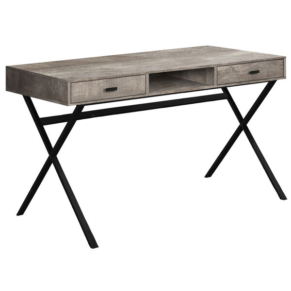 Taupe and Black 24-Inch Computer Desk with Crisscross Metal Legs, image 1