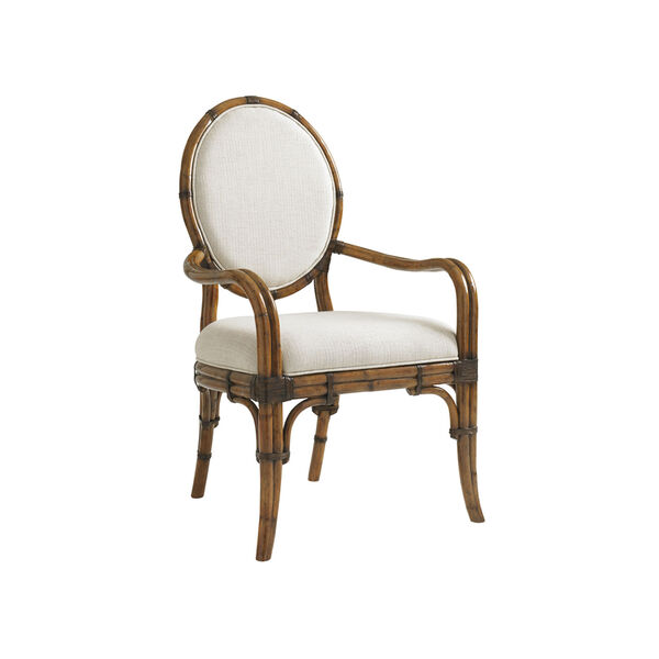 Bali Hai Brown and Ivory Gulfstream Oval Back Arm Chair, image 1