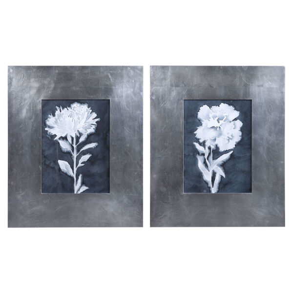 Dream Leaves Navy, White, and Gray Floral Prints, Set of 2, image 1