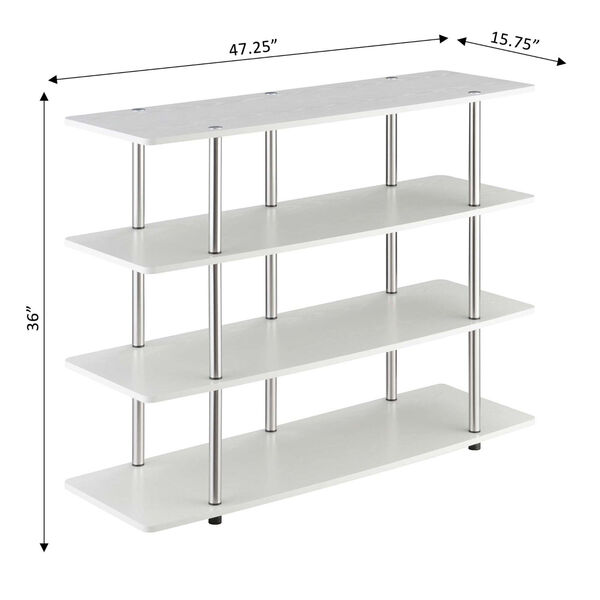 Designs2Go White Highboy Four-Tier TV Stand, image 4