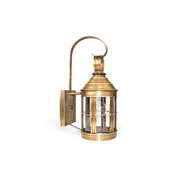 Small Antique Brass Heal Wall Lantern, image 1