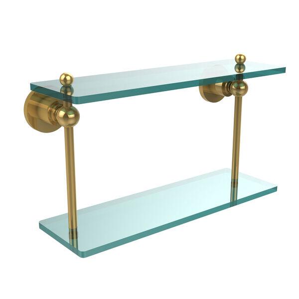 Polished Brass 16-Inch Double Glass Shelf , image 1