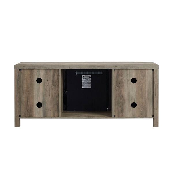 58-Inch Barn Door Fireplace TV Stand - Grey Wash, image 4