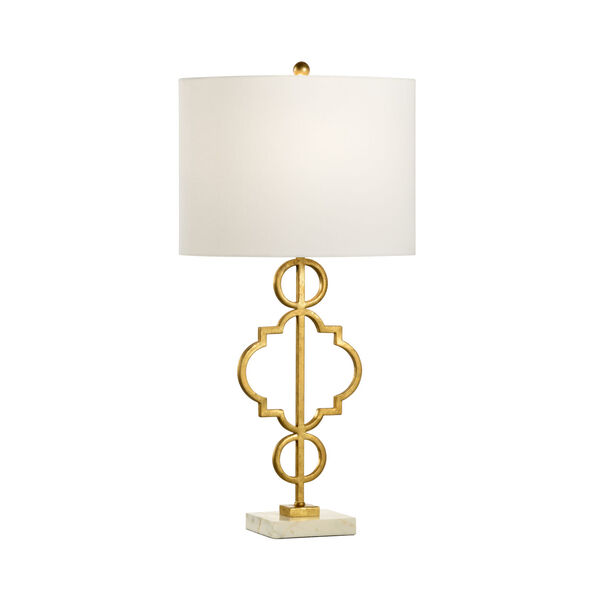 Artistic Antique Gold and White One-Light Table Lamp, image 1