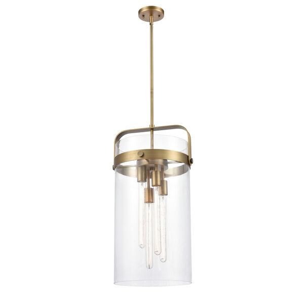 Pilaster Brushed Brass Four-Light LED Pendant, image 1