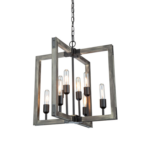 Gatehouse Beach Wood and Black Eight-Light Chandelier, image 1