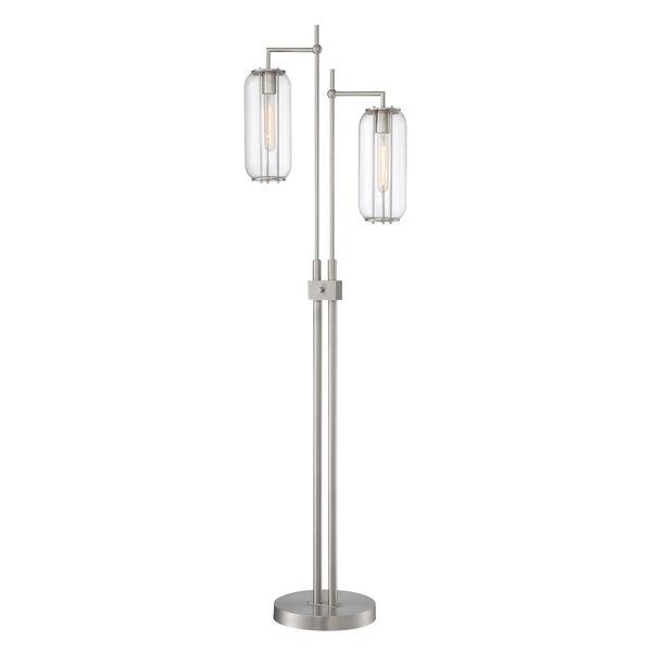 Hagen Brushed Nickel Two-Light Floor Lamp, image 1