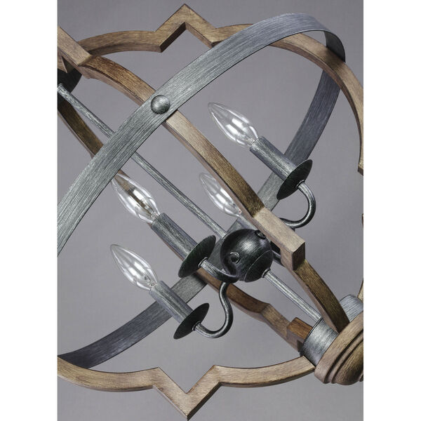 Kenwood Black and Wood 21-Inch Four-Light Chandelier, image 2