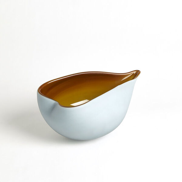 Frosted Blue and Amber 7-Inch Decorative Bowl, image 5
