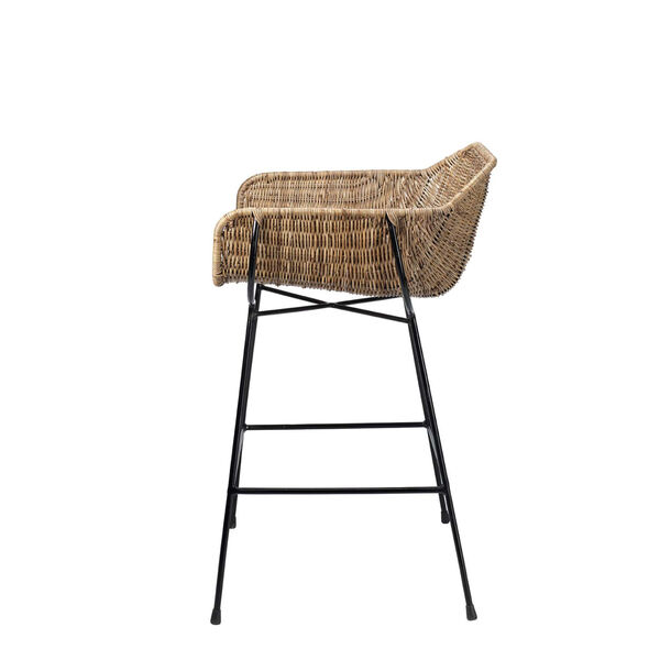 Nusa Natural Rattan and Black Steel Counter Stool, image 3