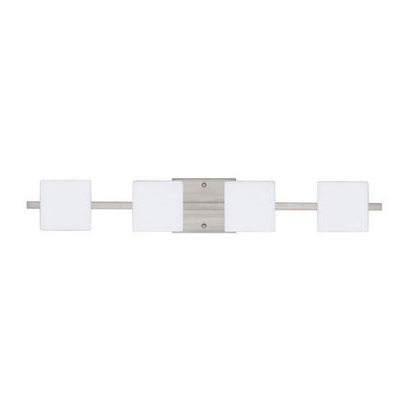 Alex Satin Nickel Four-Light LED Bath Vanity with Opal Matte Glass, image 1