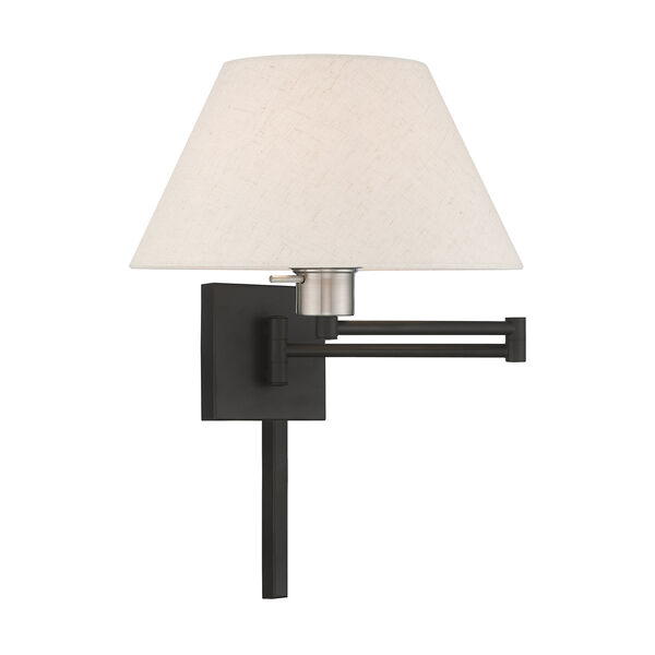 Swing Arm Wall Lamps Black 13-Inch One-Light Swing Arm Wall Lamp with Hand Crafted Oatmeal Hardback Shade, image 1