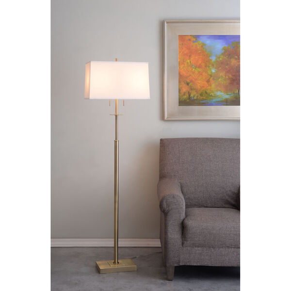 Amina Antique Brass Two-Light Shaded Floor Lamp, image 2