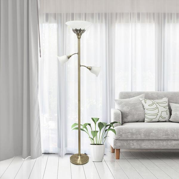 Quince Antique Brass White Shade Three-Light Floor Lamp, image 4