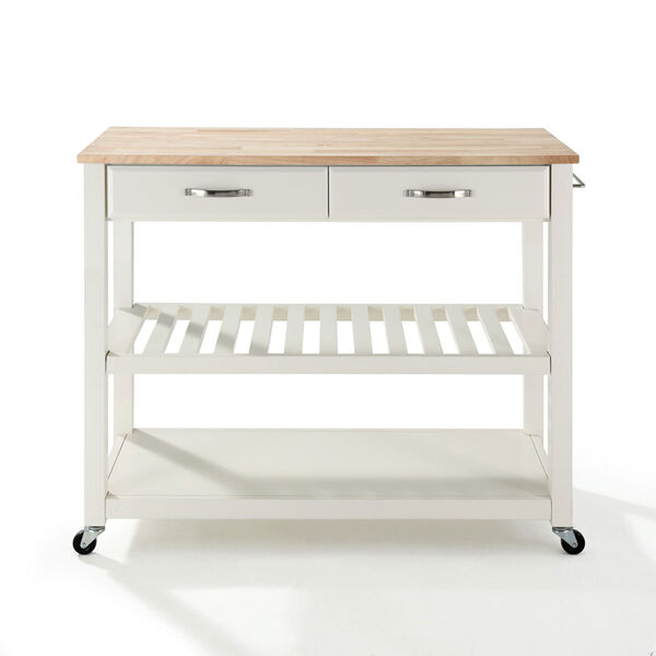Natural Wood Top Kitchen Cart/Island With Optional Stool Storage in White Finish, image 3