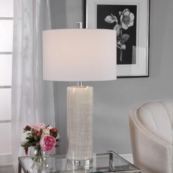 Zesiro Beige and Polished Nickel Table Lamp, image 2