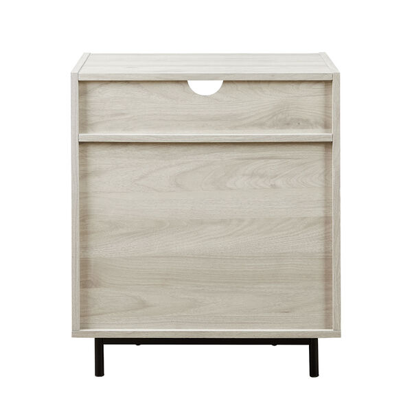 Birch Curved Open Top Two Drawer Nightstand with USB, image 5