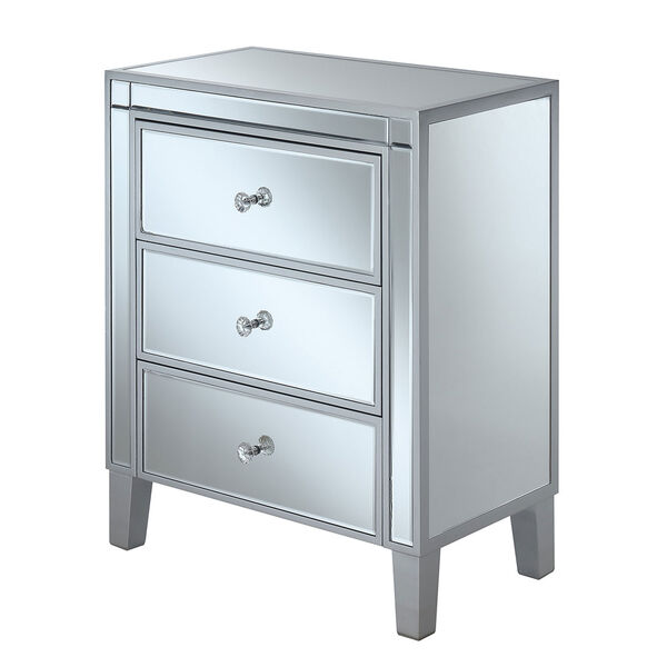 Gold Coast Large 3 Drawer Mirrored End Table in Silver, image 1