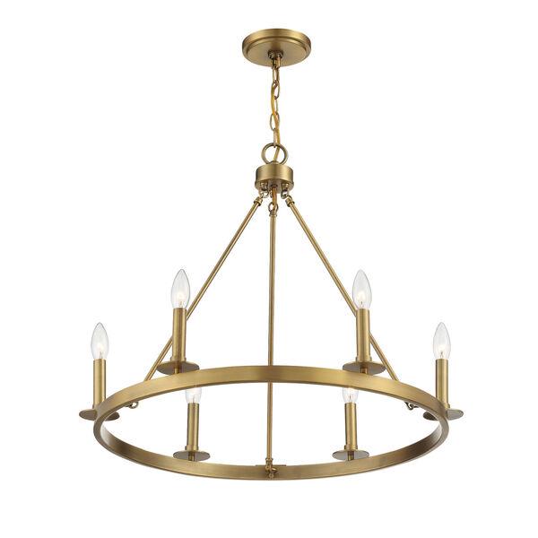 Linden Natural Brass Six-Light Chandelier, image 4