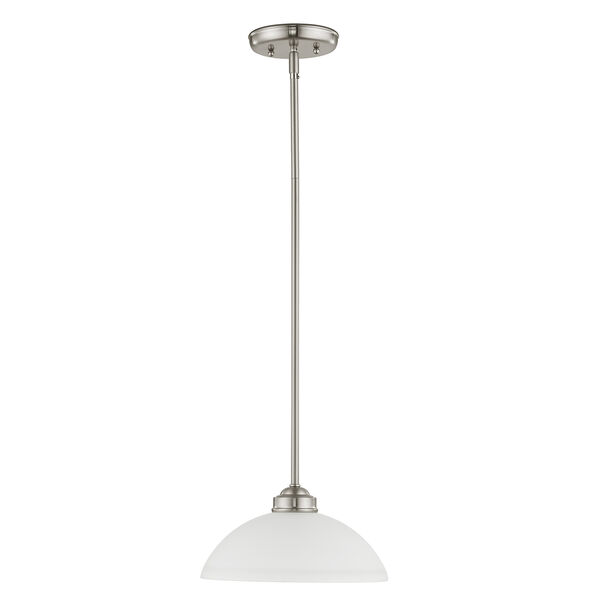 Somerset Brushed Nickel One-Light 11-Inch Pendant with Satin Glass, image 4