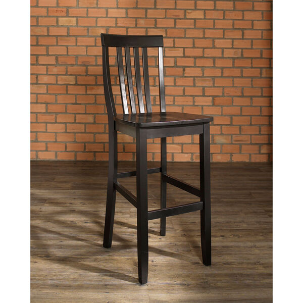 School House Bar Stool in Black Finish with 30 Inch Seat Height- Set of Two, image 6