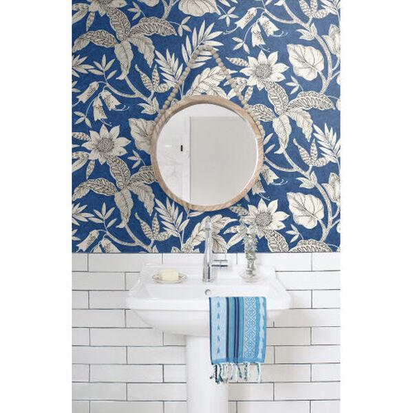 Boho Rhapsody Sapphire and Brushed Ebony Rainforest Leaves Unpasted Wallpaper, image 1