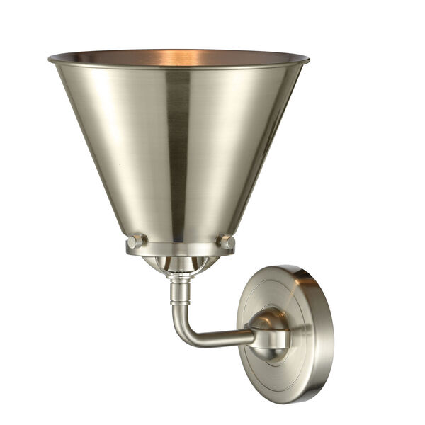 Nouveau Brushed Satin Nickel Eight-Inch One-Light Wall Sconce with Brushed Satin Nickel Metal Shade, image 2