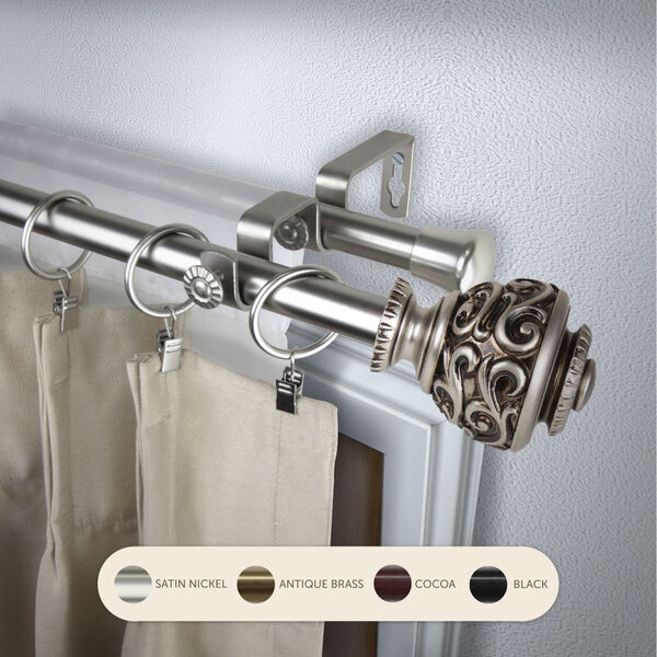 Eleanor Satin Nickel 48-Inch Double Curtain Rod, image 2