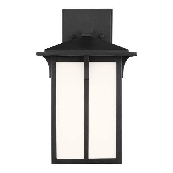Tomek Black Seven-Inch One-Light Outdoor Wall Sconce with Etched White Shade, image 1