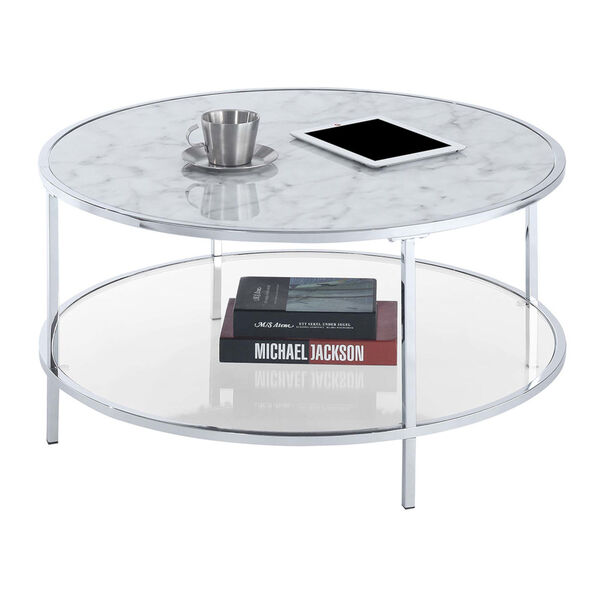 Gold Coast White Faux Marble Chrome MDF Round Coffee Table, image 2